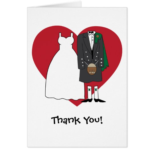 Danke schottische Braut u. Bräutigam Karte