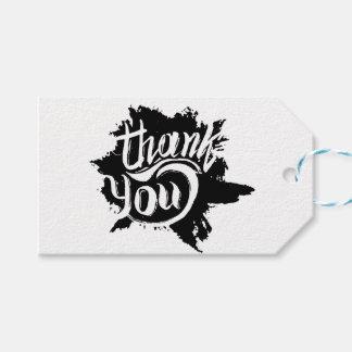 Danke schwarz u. weiße Farben-platsche Geschenkanhänger
