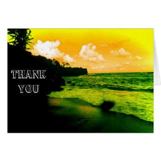 Danke, schwarzen Sand-Strand mit gelbem Himmel zu Karte