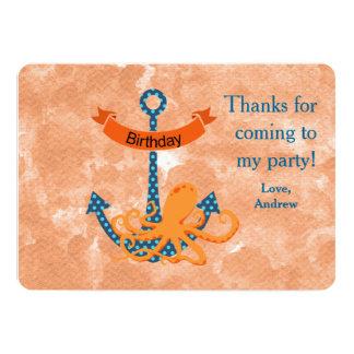 Danke Seekraken-Kindergeburtstag-Party 12,7 X 17,8 Cm Einladungskarte