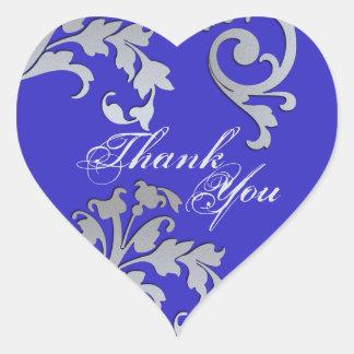 Danke Siegel-- blaue u. silberne Blumenhochzeit Herz-Aufkleber