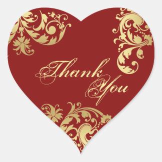 Danke Siegel - Rot u. Goldblumenhochzeit Herz-Aufkleber