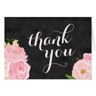danke Tafel der Anmerkungskarte   mit rosa Blumen Karte