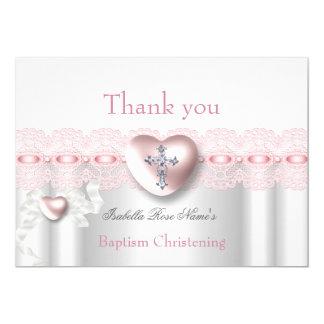 Danke Taufe-rosa silbernes Foto-Herz-Kreuz Karte