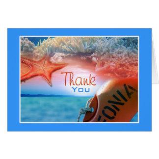 """""""Danke,"""" tropische Kreuzfahrt des Themas auf den Karte"""