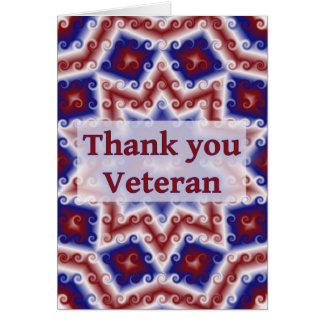 Danke Veteran, rotes weißes blaues abstraktes Karte