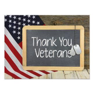 Danke Veteranenzeichen auf Tafel Fotodruck