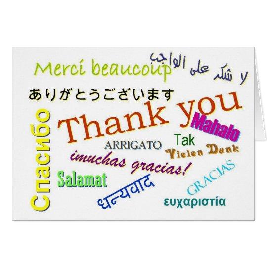 Danke viele in der unterschiedlichen Sprachenkarte Grußkarte