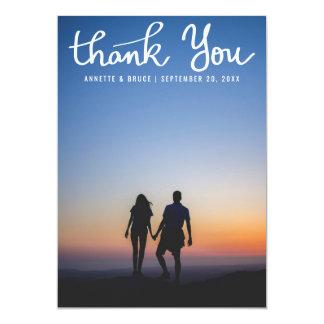 Danke weißes Typografie-Skript-Hochzeits-Foto 12,7 X 17,8 Cm Einladungskarte