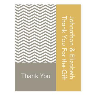 Danke Zickzack das Hochzeits-Verlobungs-graue Weiß Postkarte