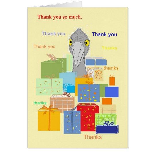 Danke zu kardieren, lustiger Vogel mit Geschenken Karte