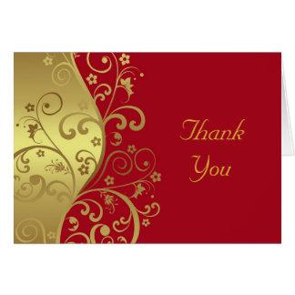 Danke zu kardieren--Rot-u. GoldWirbel Mitteilungskarte