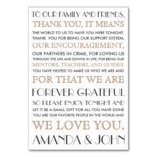 Danke zu wedding Gästen Karte