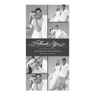 Danken elegantes Chic ausgebogte graue Individuelle Fotokarte
