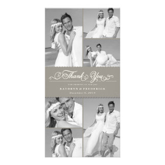Danken elegantes Chic ausgebogte graue Photokarten