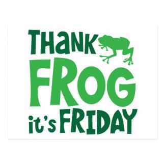 Danken Sie Frosch, den es FREITAG ist Postkarte