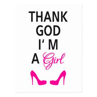 Danken Sie Gott, den ich ein Mädchen bin, Postkarte