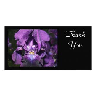 Danken Sie Sie-Tiefer lila Iris Foto Karten Vorlage