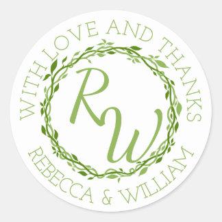 danken Woodsy Wedding Rebe z Eleganz-| Ihnen zu Runder Aufkleber