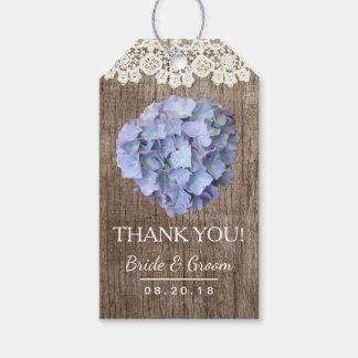 Dankt rustikaler Hochzeits-Hydrangea geschnürtes Geschenkanhänger