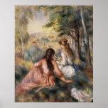 Dans le pré par Pierre-Auguste Renoir Affiche
