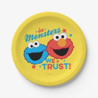 Dans les monstres nous faisons confiance ! assiettes en papier