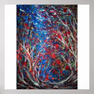 Danse des éléments (toile 52x52 abstraite) posters