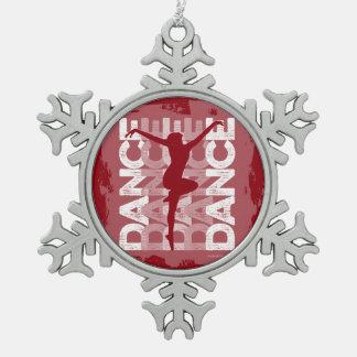 Danse und Lettres (Tanz) Schneeflocken Zinn-Ornament