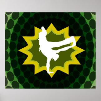 Danseur de coupure avec le rétro arrière - plan su poster