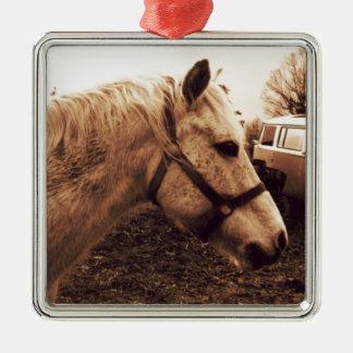 Dappled Pferd und Bus Quadratisches Silberfarbenes Ornament