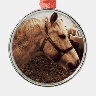 Dappled Pferd und Bus Rundes Silberfarbenes Ornament