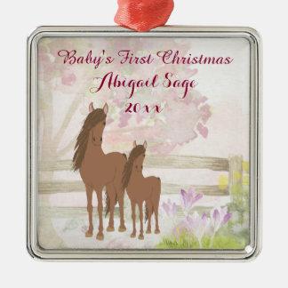 Das 1. Weihnachten des personalisierten Silbernes Ornament