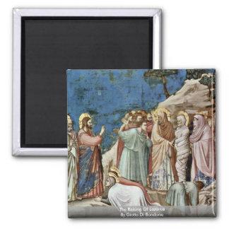 Das Anheben von Lazarus durch Giotto Di Bondone Quadratischer Magnet