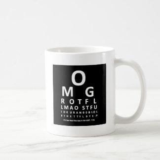 Das Augen-Diagramm des Text-Süchtigen Kaffeetasse