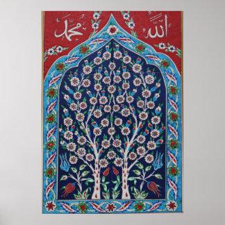 Das blaue und rote Türkische deckt BAUM DES LEBENS Poster