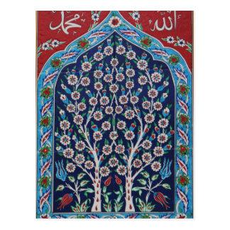 Das blaue und rote Türkische deckt BAUM DES LEBENS Postkarte