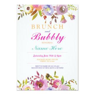 Das Blumen Brunch-und Blasen-Brautparty laden ein Karte