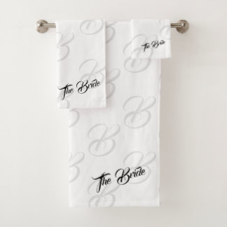 Das Braut-mit Monogramm weiße Badezimmer-Tuch-Set Badhandtuch Set