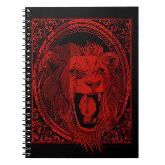 Das Brüllen-Notizbuch des roten Löwes Notizblock