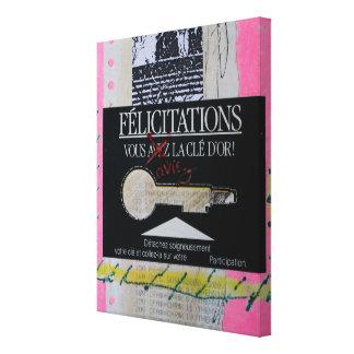Das Buch-Glückwunsch Schlüsselc Collagen Bruyants Leinwanddruck