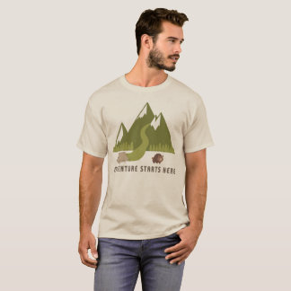 Das Camping, das Abenteuer wandert, beginnt hier T-Shirt