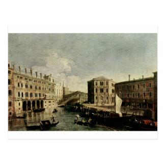 Das Canal Grande bei Rialto durch Canaletto Postkarte
