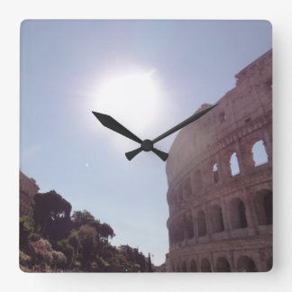 Das Colosseum (Rom) Quadratische Wanduhr
