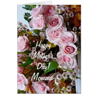 Das Day-Momma/der glücklichen Mutter rosa Rosen Karte