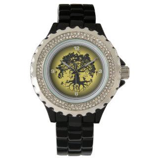 Das diamante de imitación-Schwarz-Email-Uhr der Uhr
