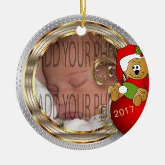 Das Diy des Kindes WeihnachtsFoto Keramik Ornament