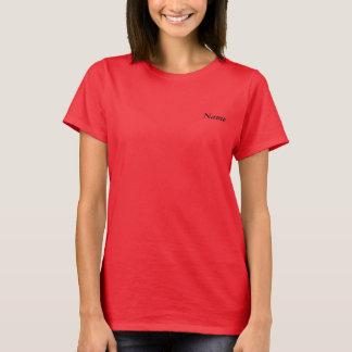Das dunkle T-Shirt der Frau - ABMR Rettungs-Logo