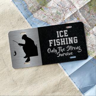 Das Eis, das nur das starke fischt, überlebt US Nummernschild