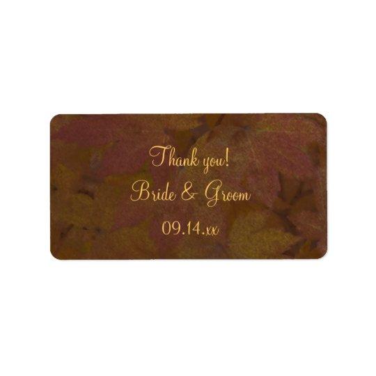 Das farbige Wedding Ahorn-Blätter dankt Ihnen, Adressaufkleber
