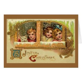 Das Fenster heraus schauen - Weihnachtskarte Karte